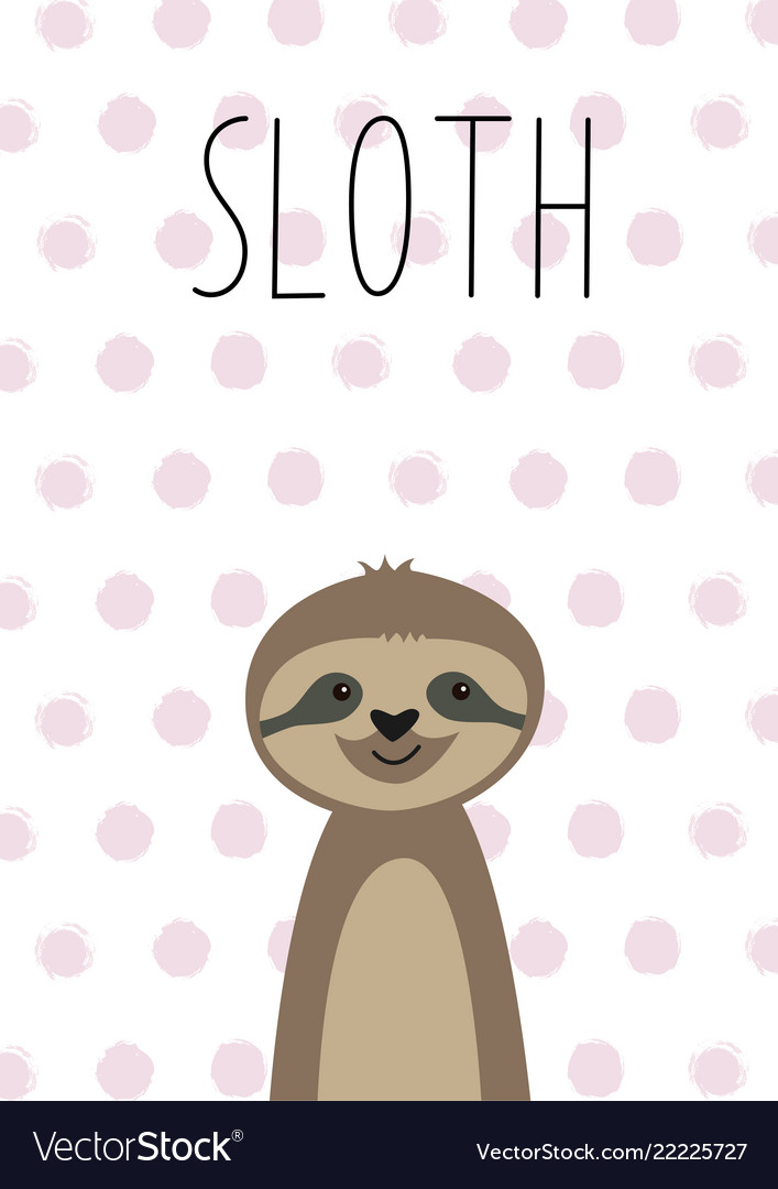Cute baby sloth poster card for kids