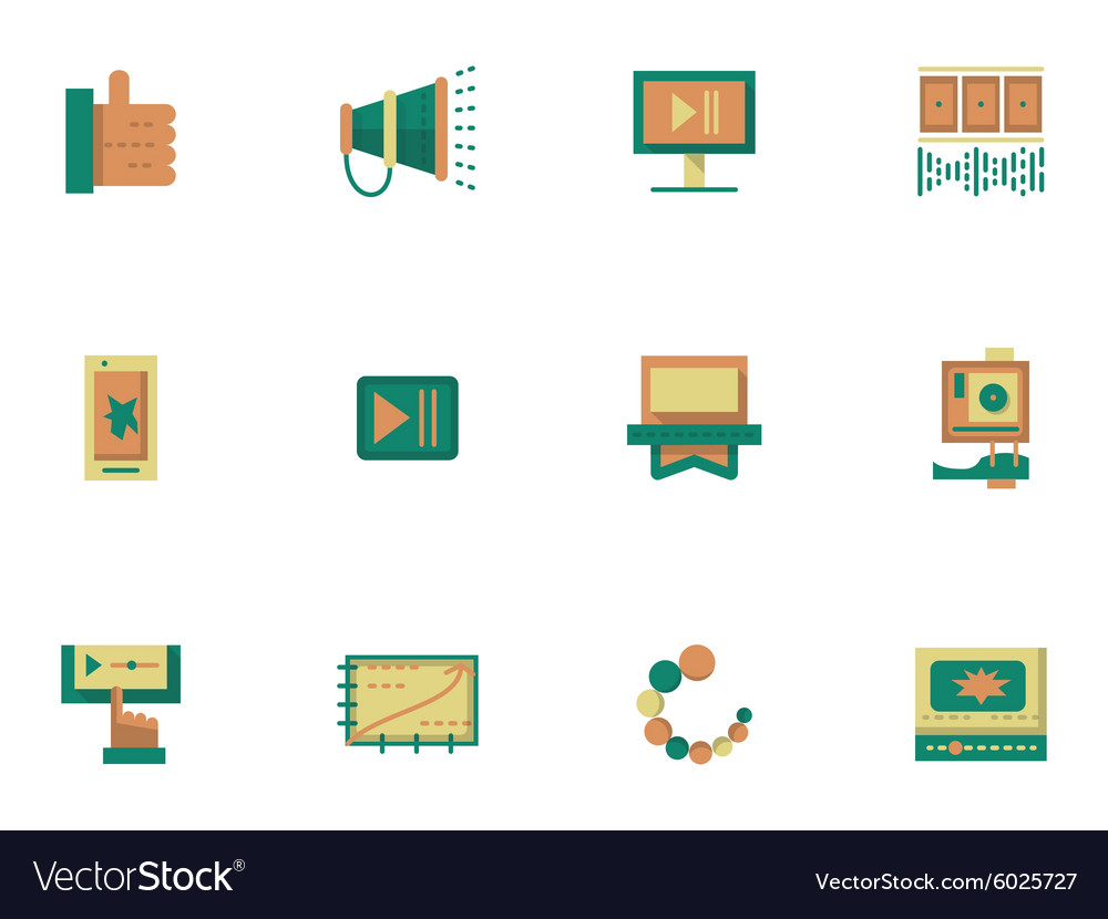Flat simple icons for video blogging