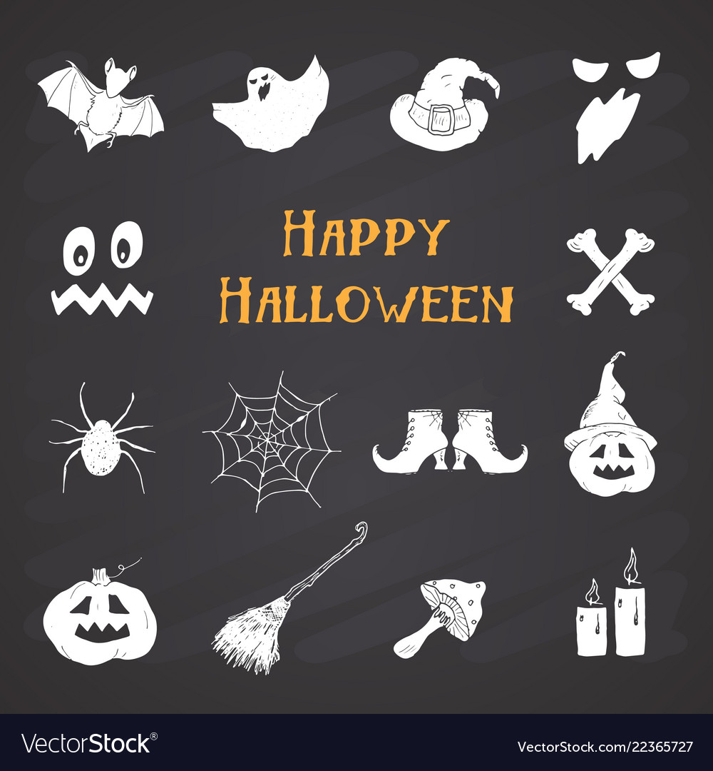 Halloween icons set hand drawn design elements