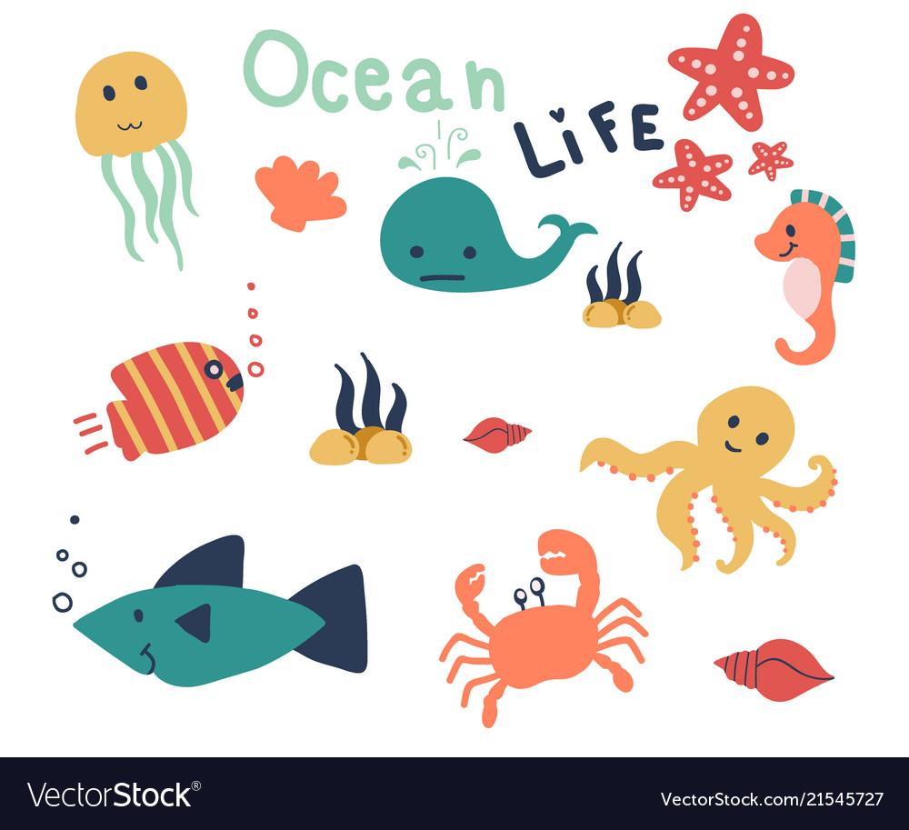Hand drawn of sea life cute animal in the ocean