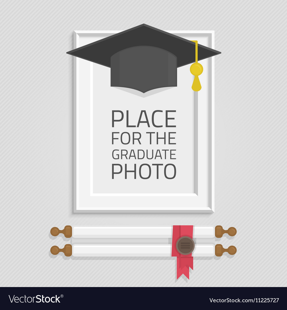 Photo frame graduation hat Royalty Free Vector Image