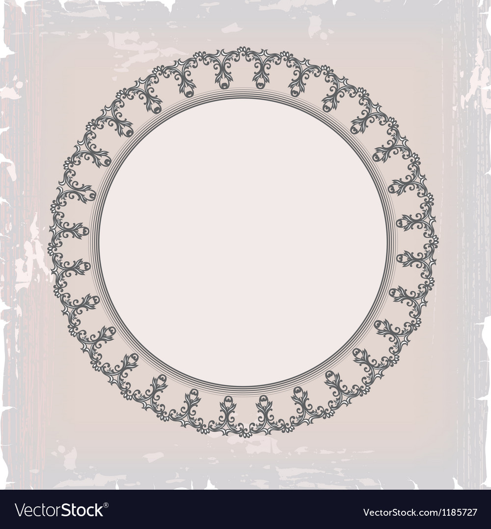 Round floral vintage frame vector image