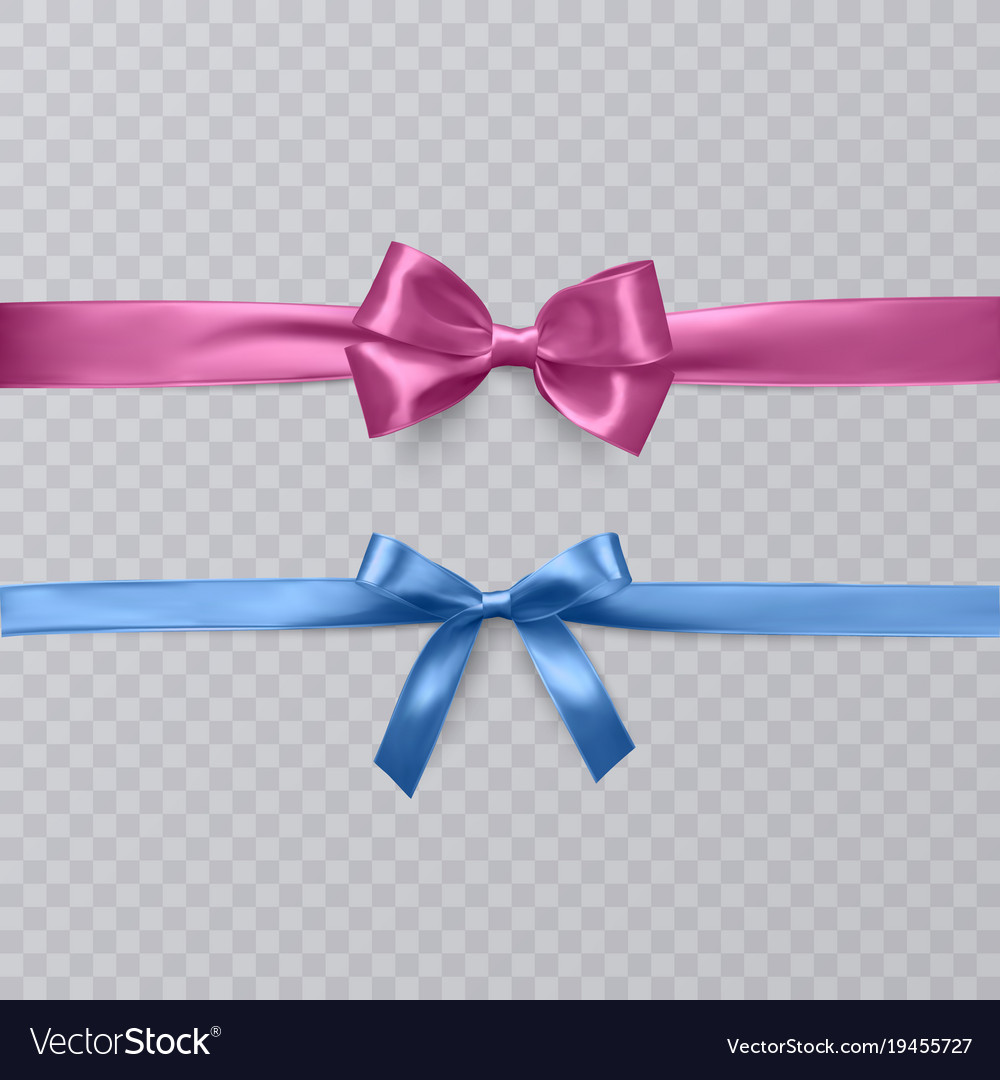 Set of realistic bows and ribbon isolated on