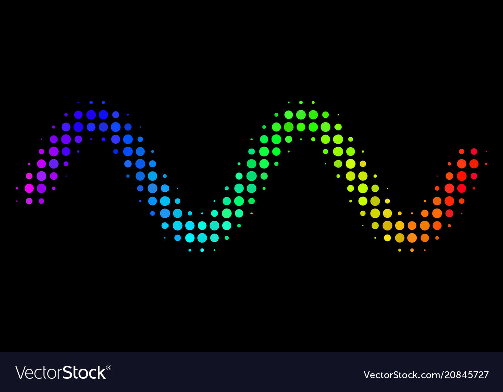 Spectral colored pixel sinusoid wave icon