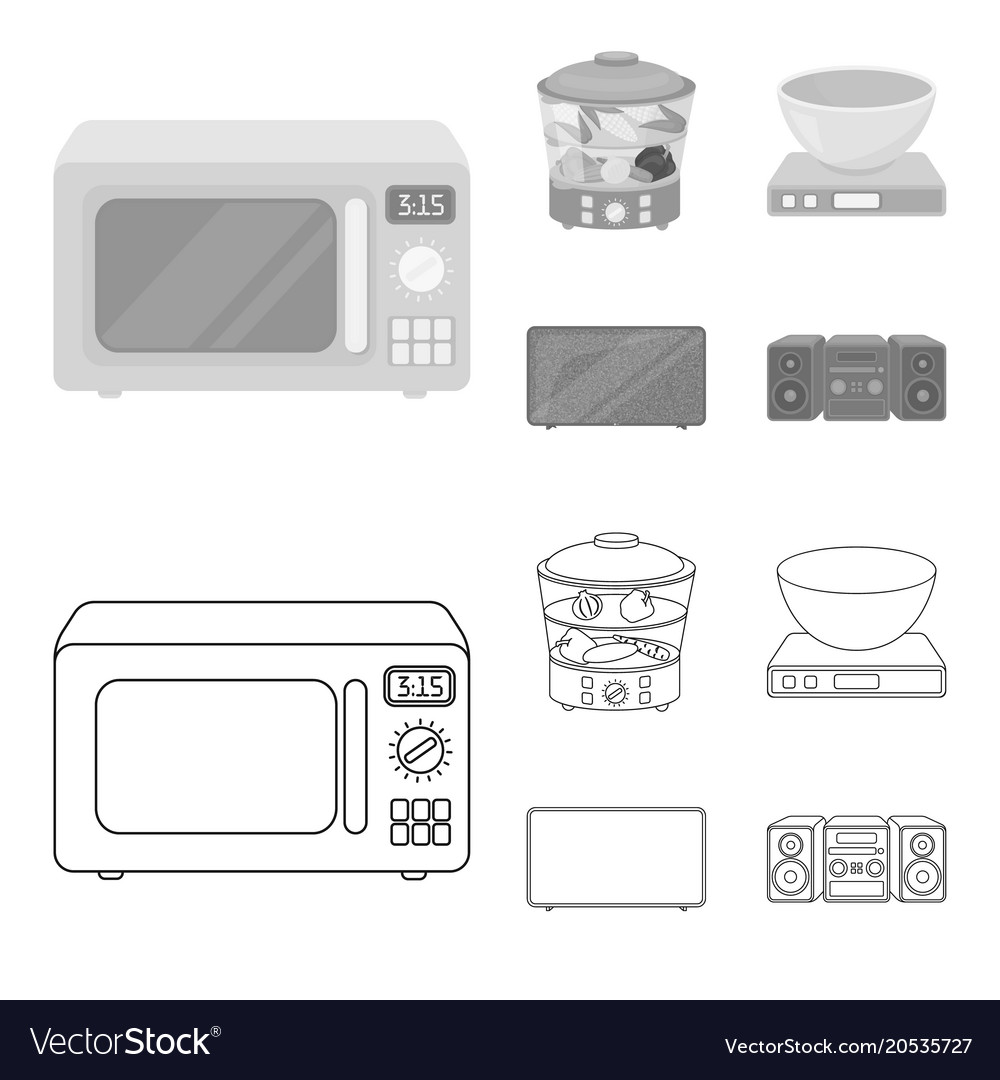 Steamer Microwave Oven Scales Lcd Tvhousehold Vector Image On Vectorstock