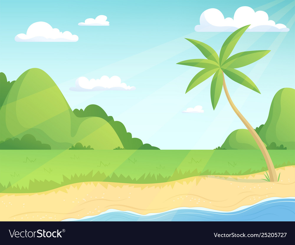 Summer landscape green hills palm tree and