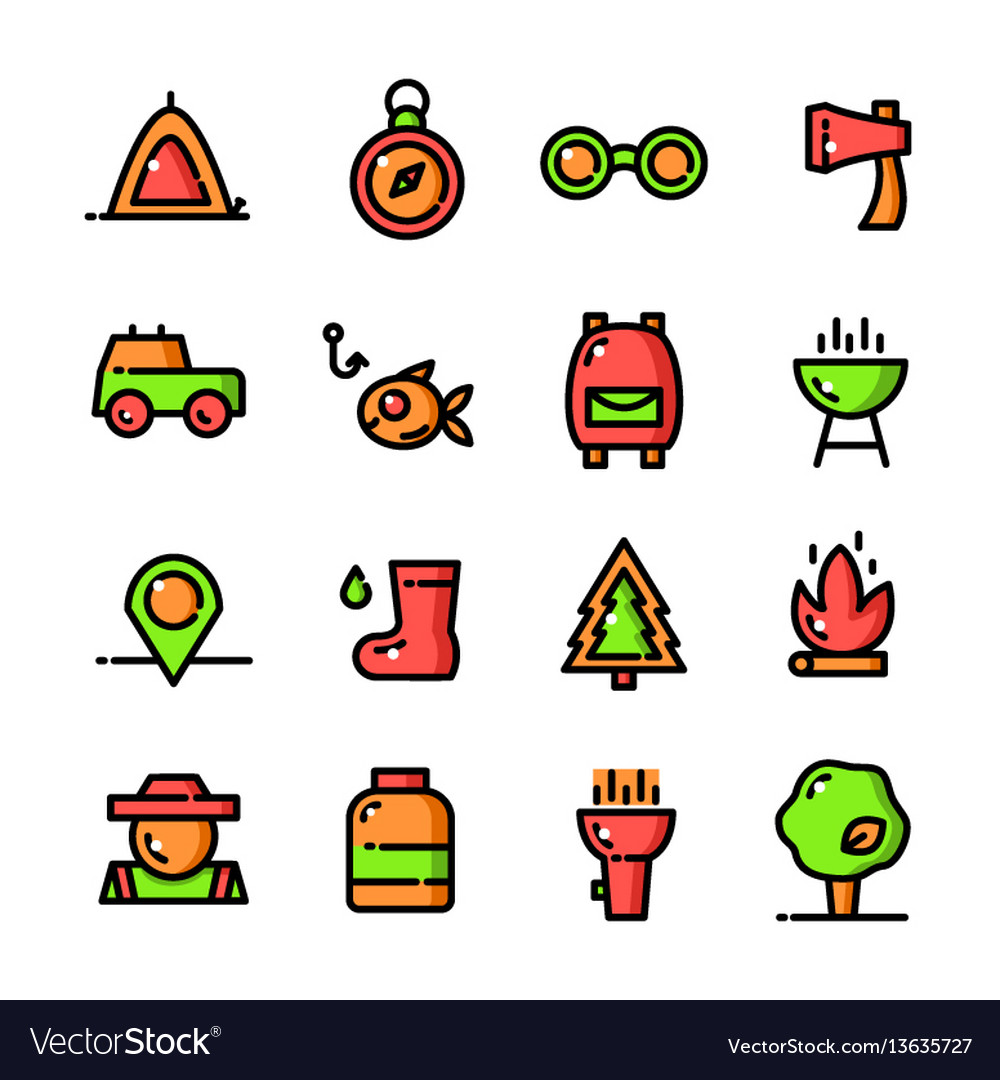 Thin line camping icons set