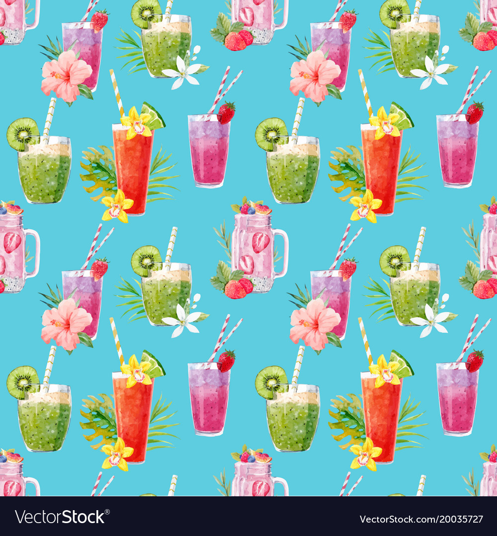 Watercolor smoothie pattern