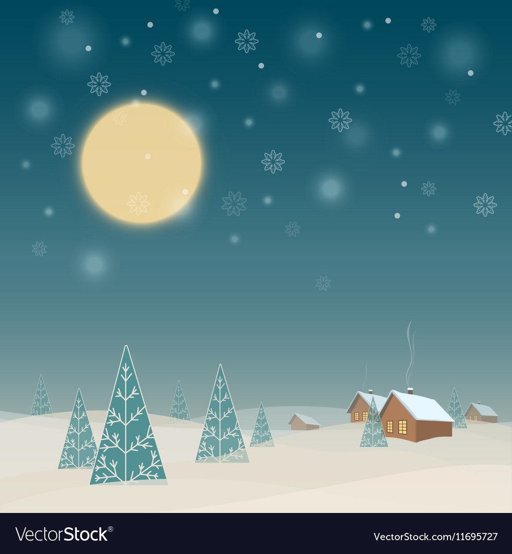 Winter night landscape with houses and trees vector image