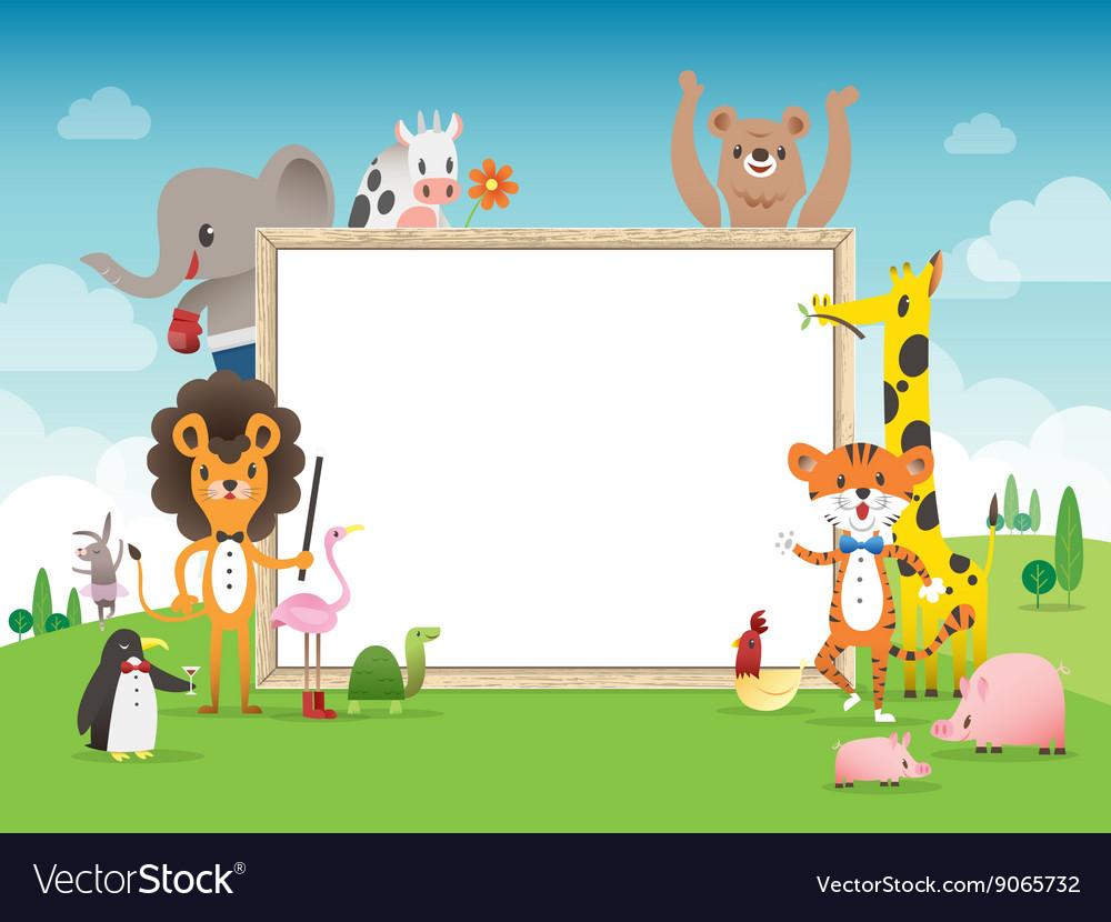 Animal cartoon frame border template royalty free vector animal cartoon frame border template vector image maxwellsz