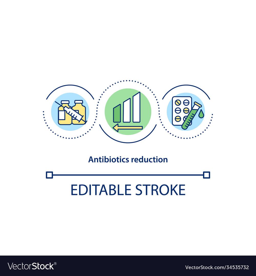 Antibiotics reduction concept icon