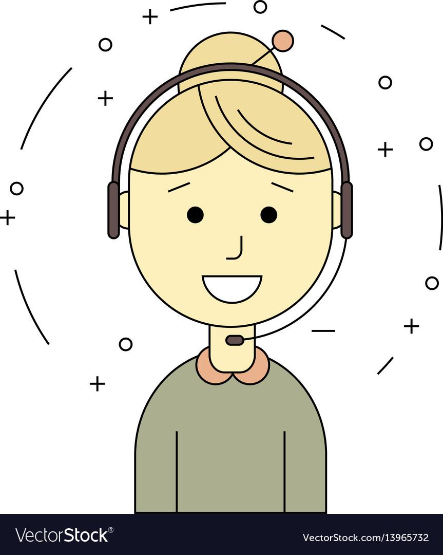 Call center operators female avatar icons vector image
