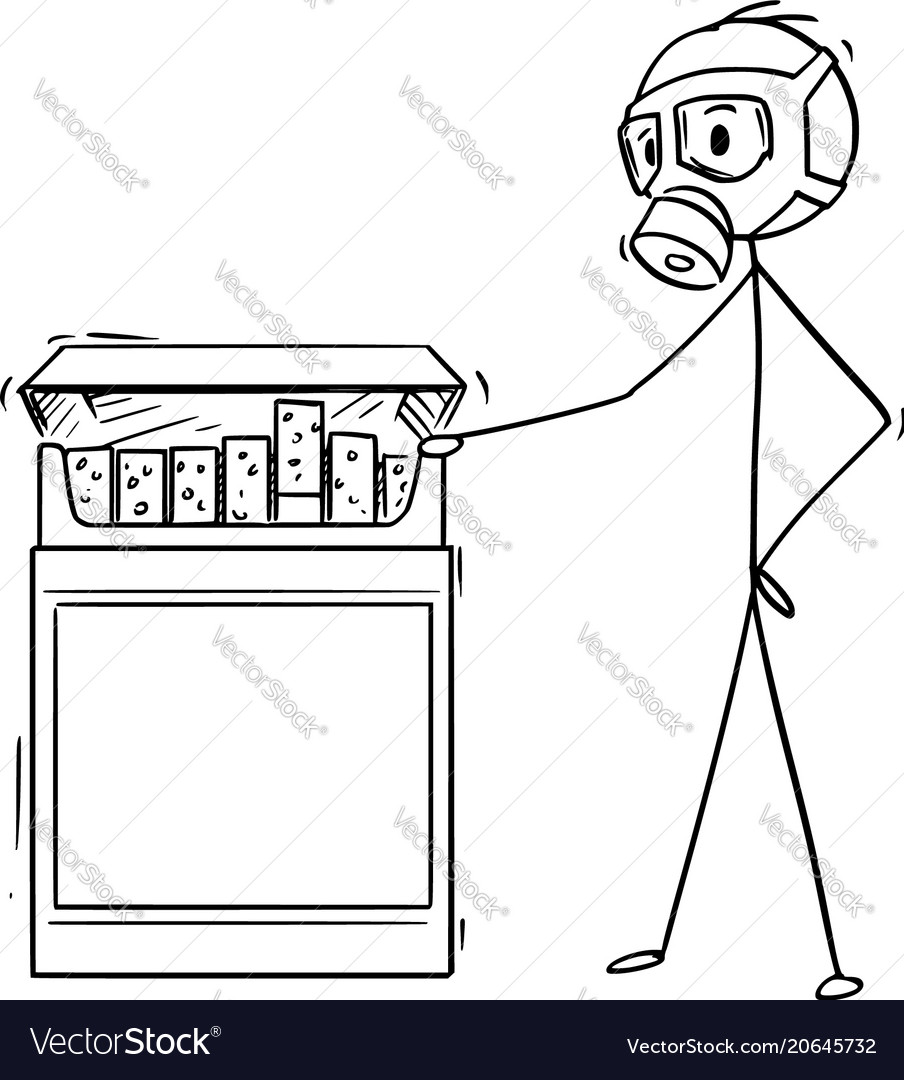 Cartoon of man in gas mask looking at big box of