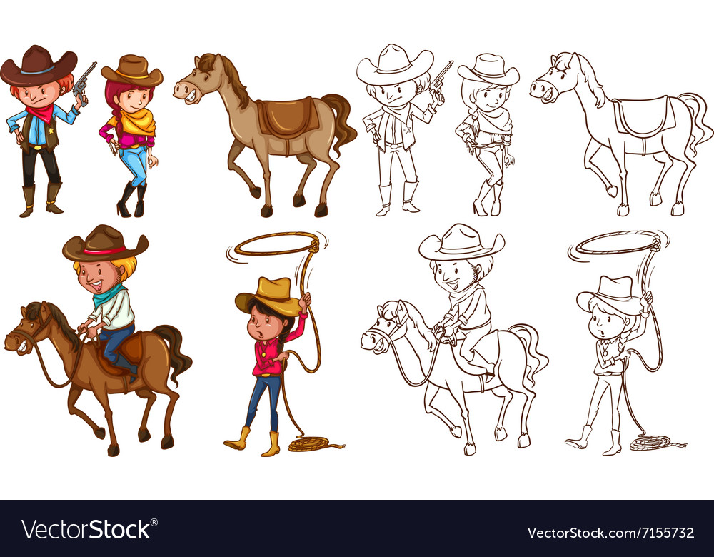Cowboys and horses in colors and line