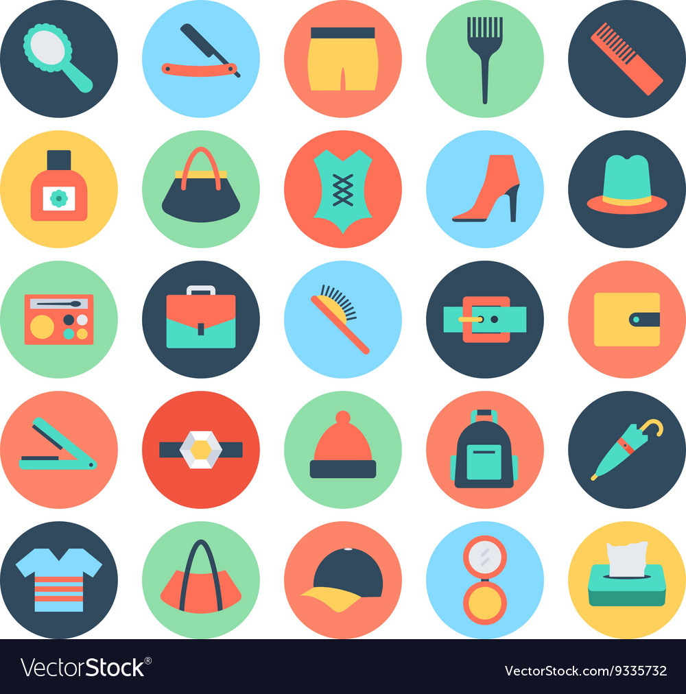 Fashion and Beauty Colored Icons 5