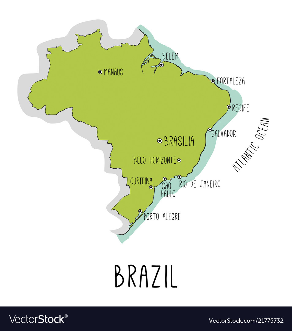 Hand drawn map of brazil with main cities