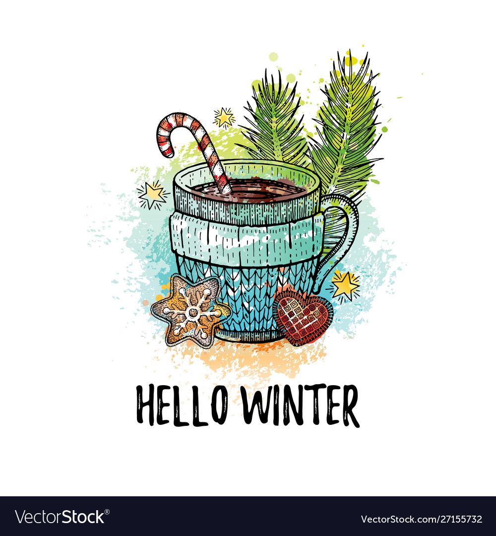 Hello winter hand drawn doodle poster hot tea