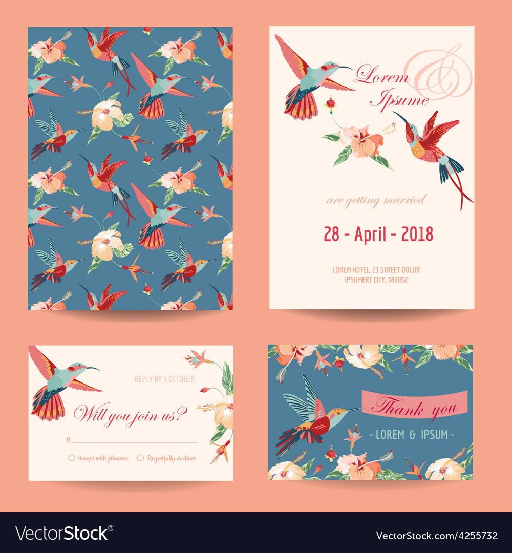Invitation save date card set vector