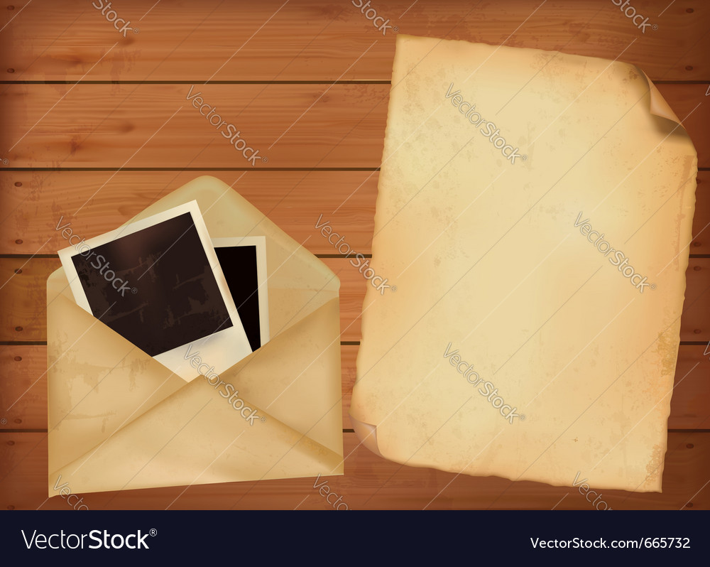 Old envelope with photos and old paper