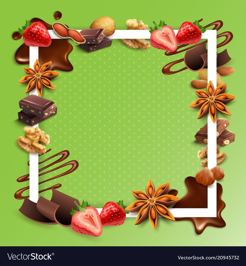Realistic chocolate white square frame