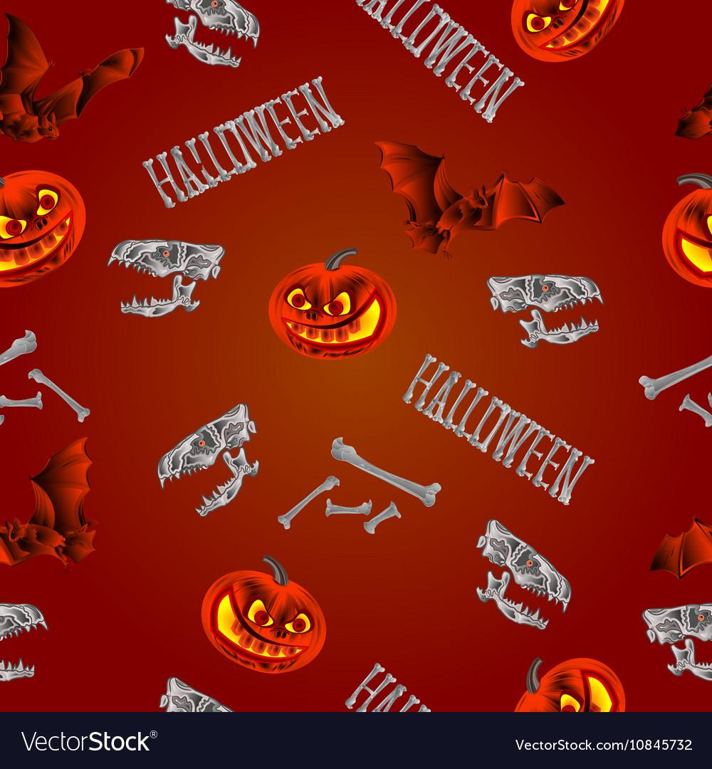 Seamless texture Halloween pumpkins bats skulls