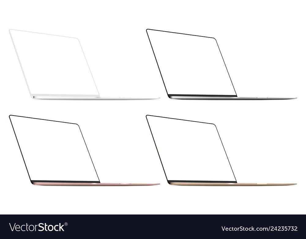Set four modern laptops isolated