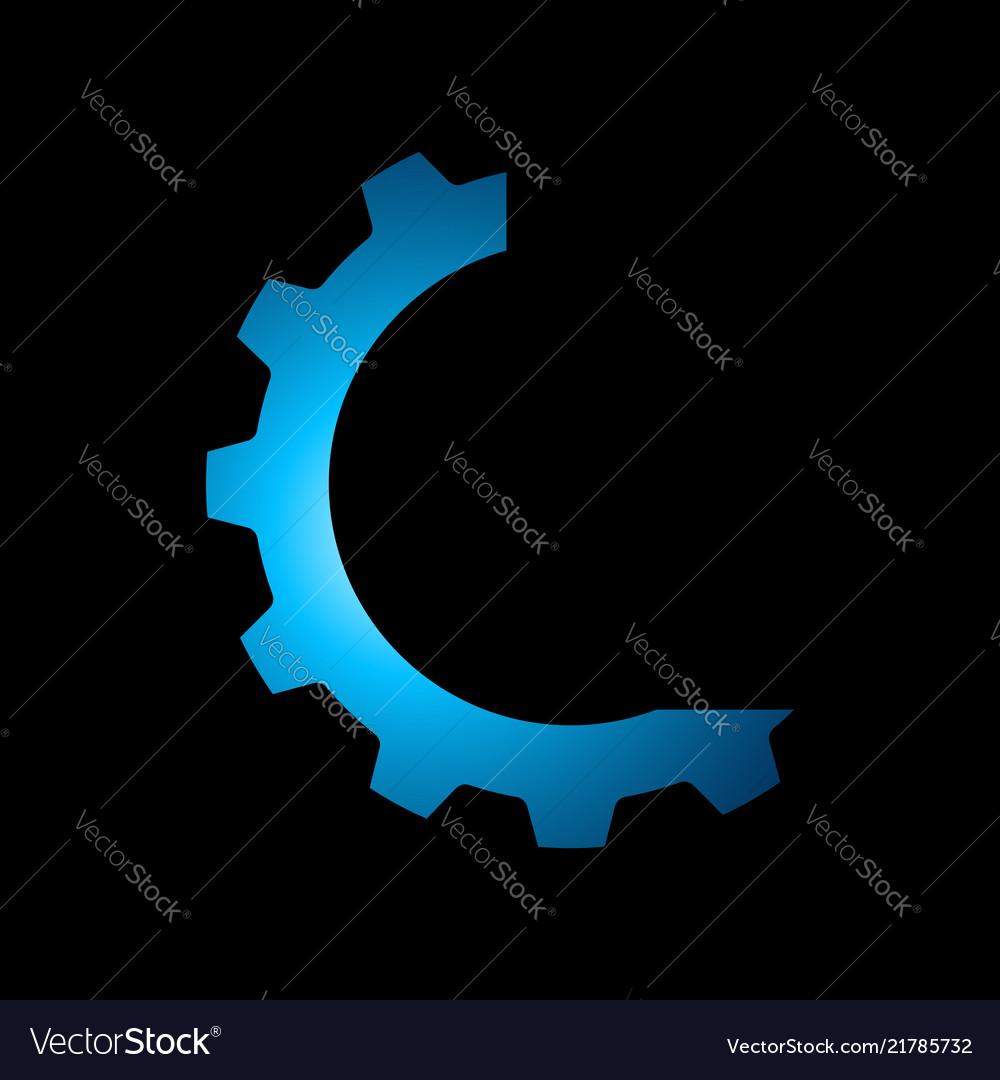 Technology logo cog gear icon in circle premium
