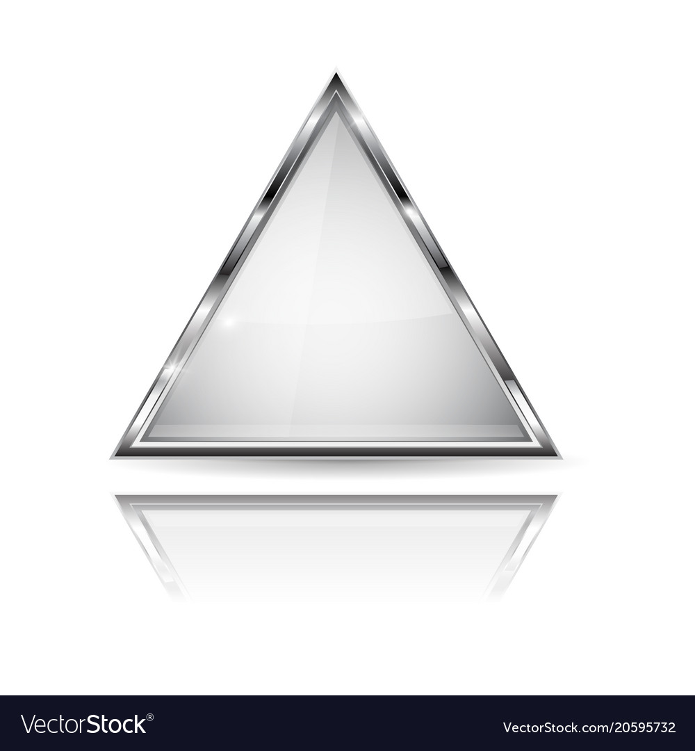 White glass 3d button with metal frame triangle Vector Image