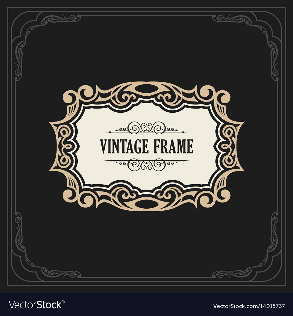 Calligraphic elegant ornament frame lines