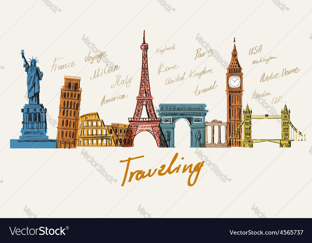 Color travel vector image
