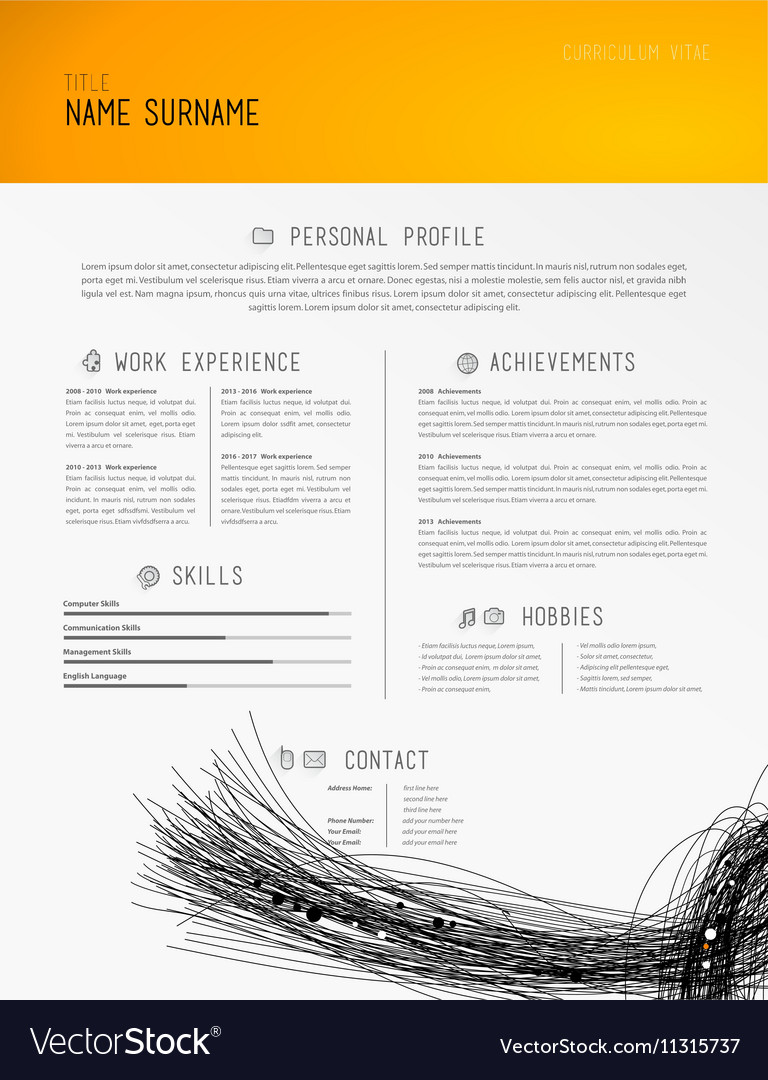 creative simple cv template with black lines in vector image
