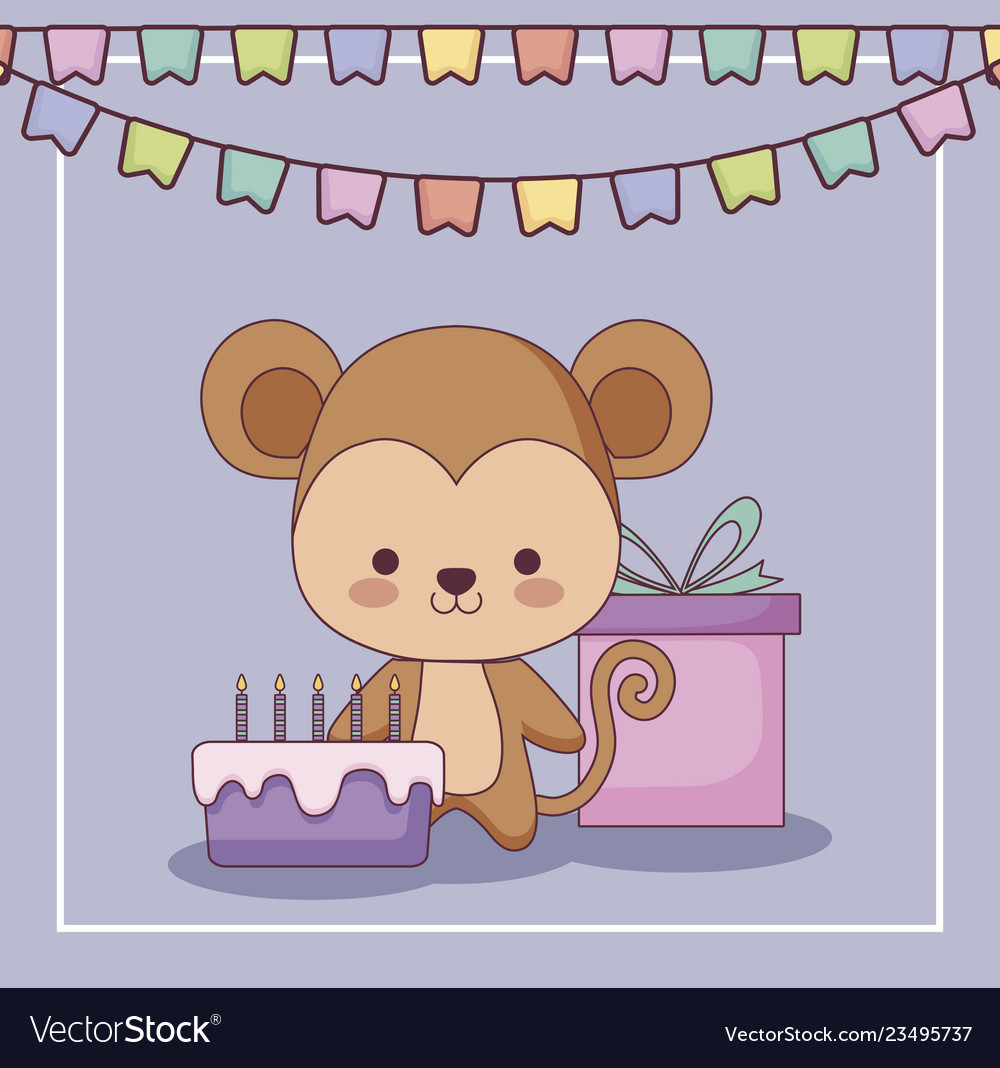 Cute Monkey Happy Birthday Card Gift And Set Icons Vector Image