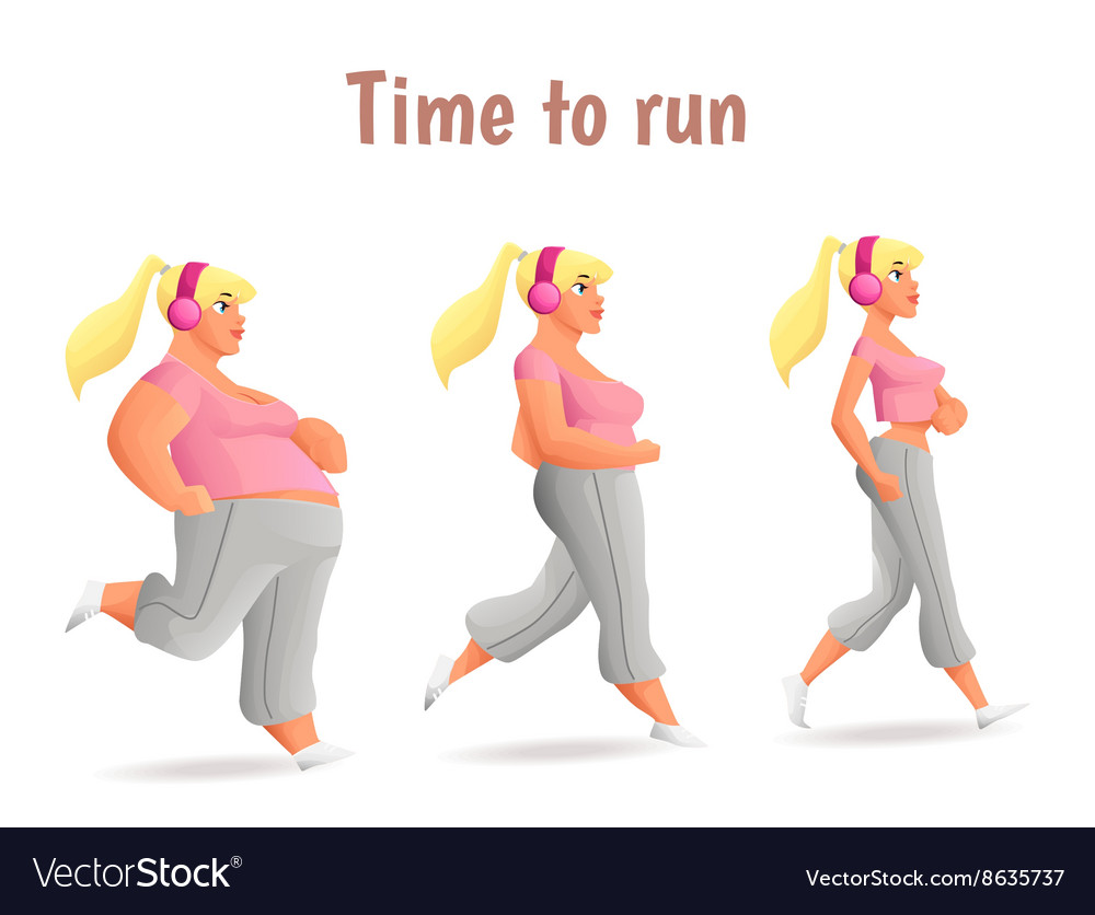 Different body types of women women run vector image