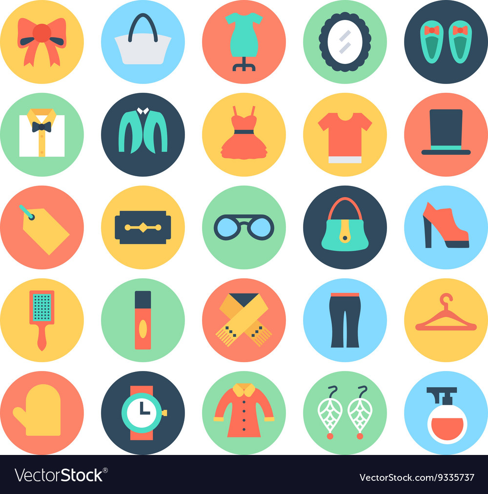 Fashion and Beauty Colored Icons 4