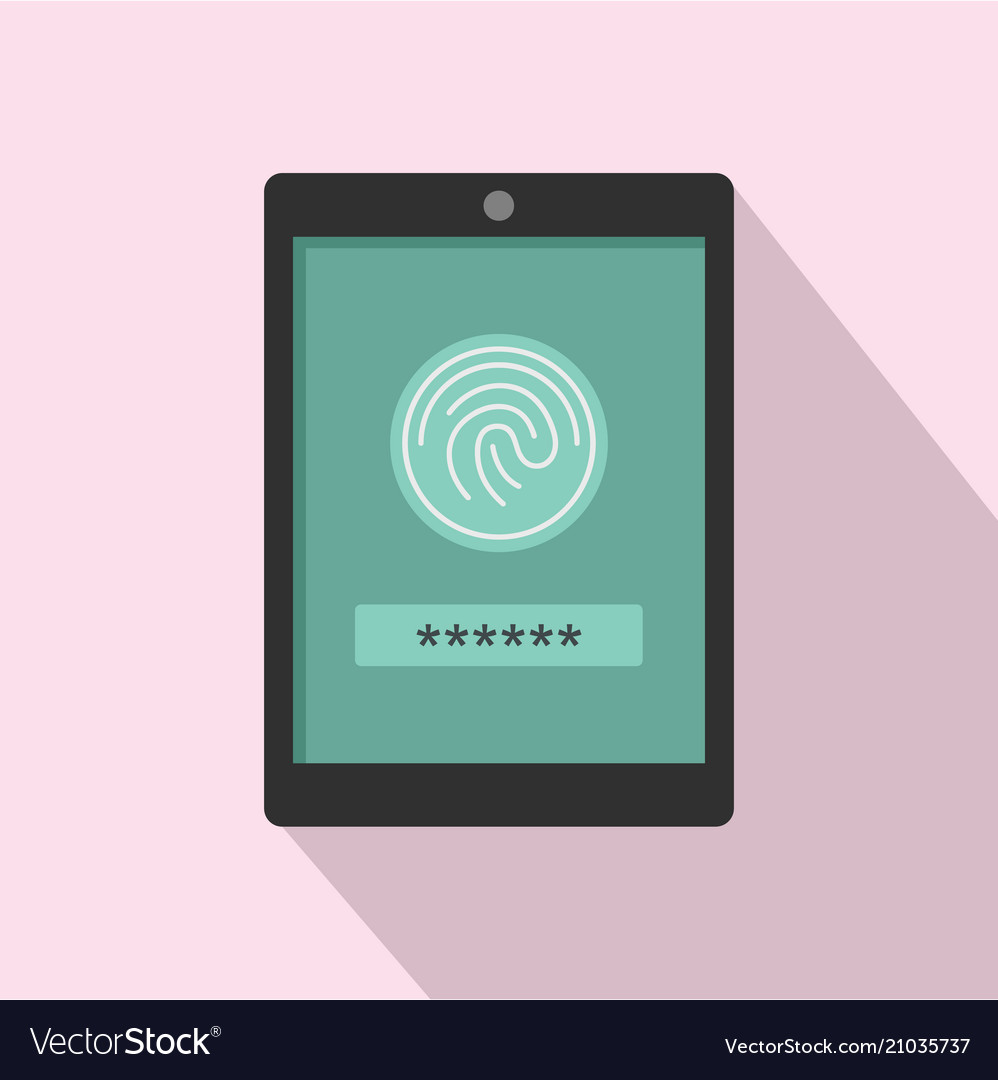 Fingerprint password icon flat style