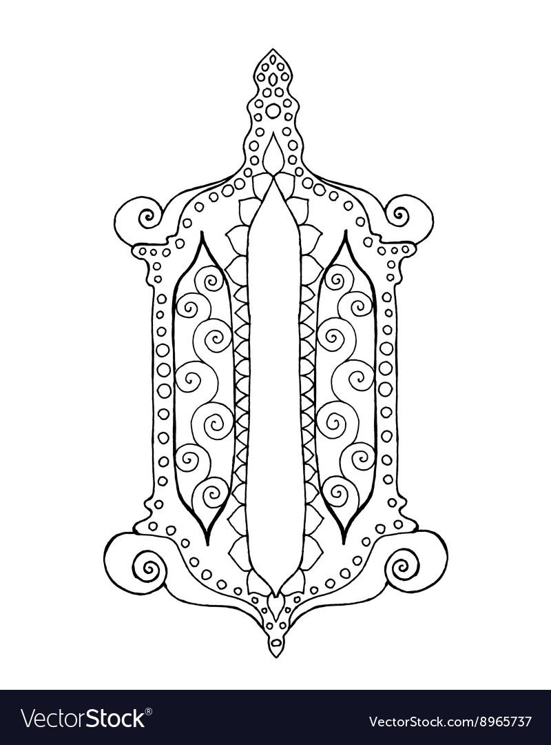 Hand drawn traditional lantern of Ramadan vector image