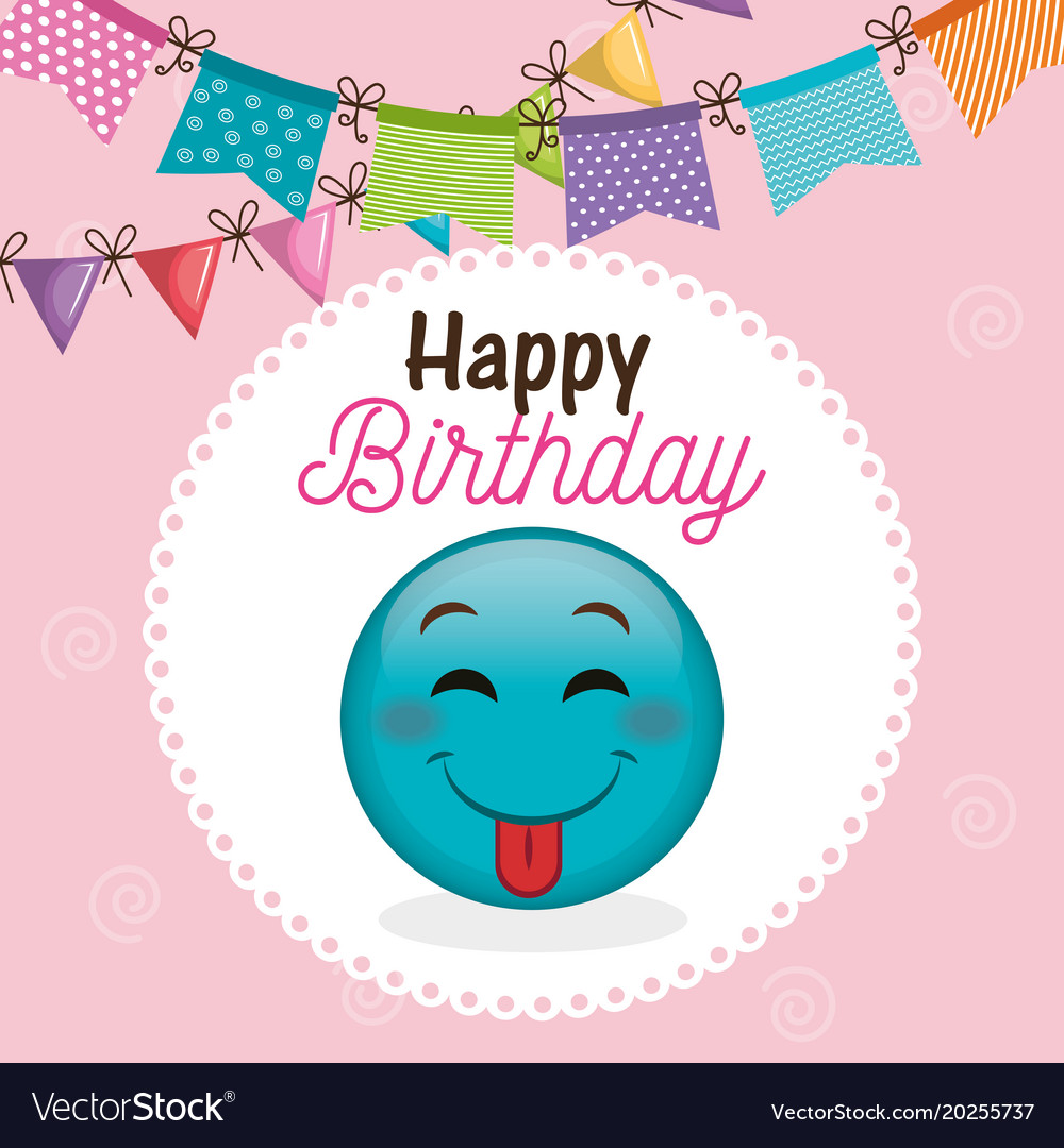 Happy Birthday Card With Emoticon Vector Image