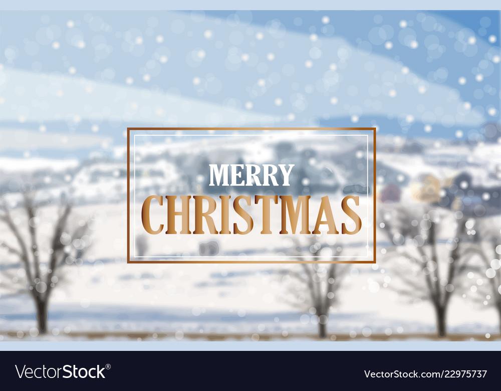 Merry christmas golden card on winter landscape