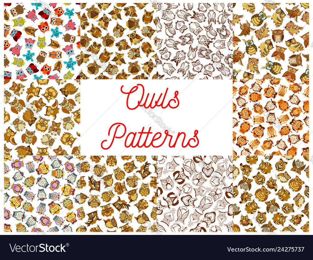 Owl seamless pattern backgrounds