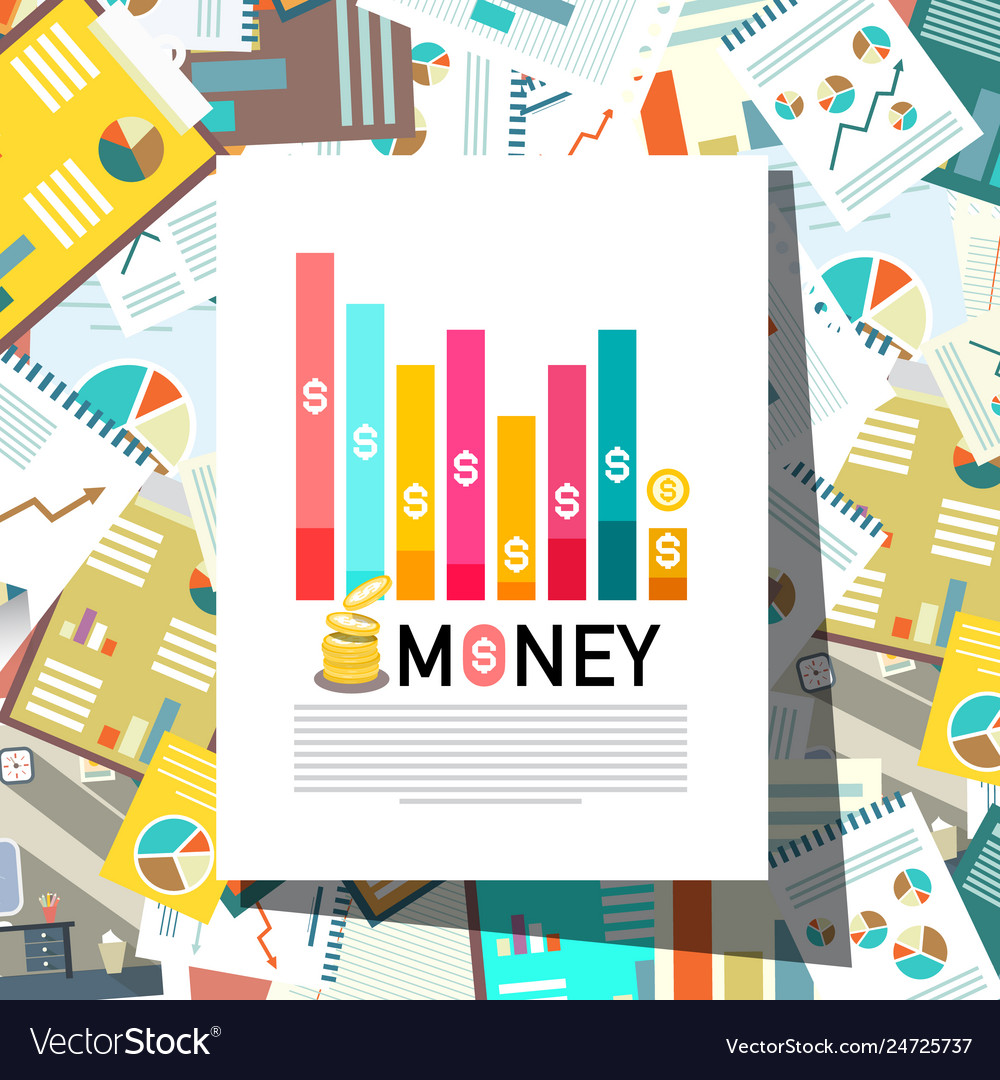 Paperwork background with money graph on top paper