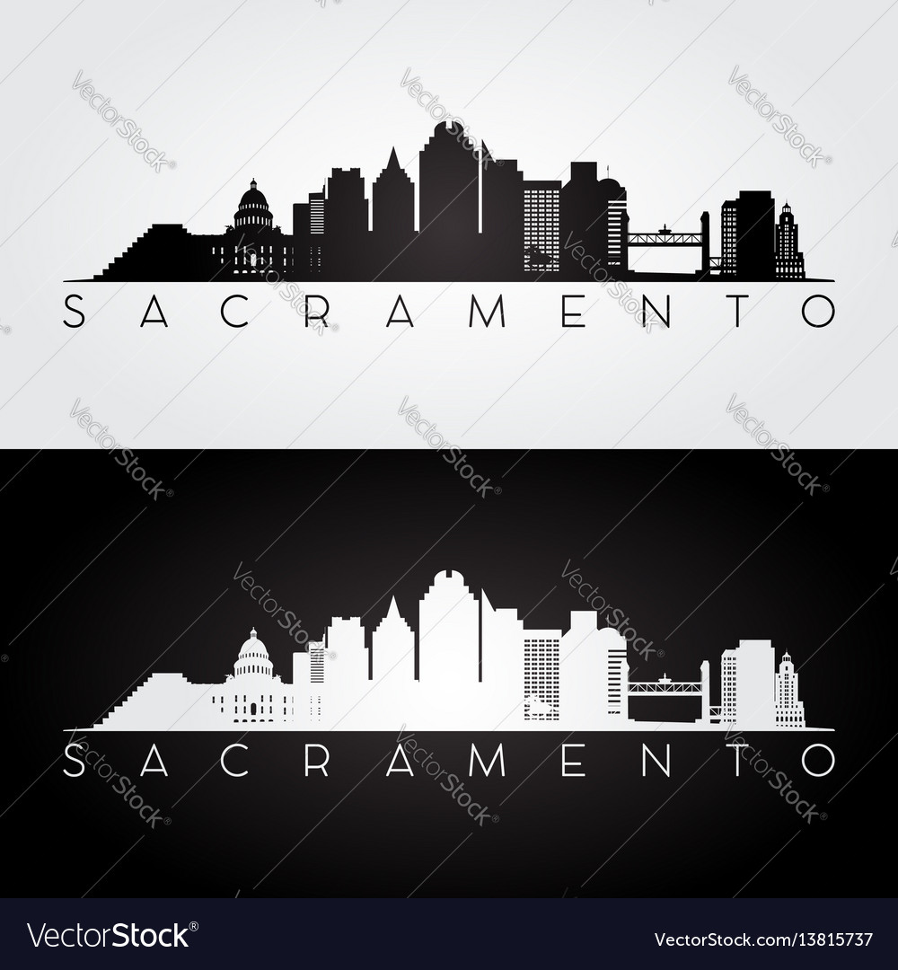 Sacramento usa skyline and landmarks silhouette