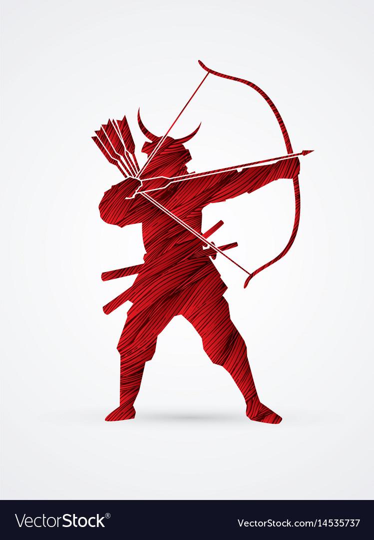 Samurai warrior with bow bowman archer fighter