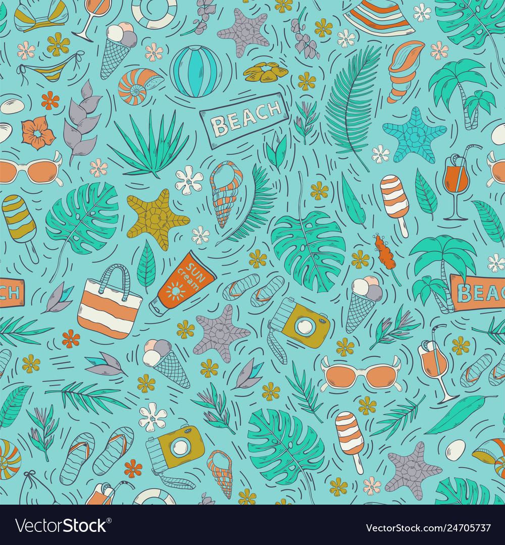 Seamless pattern with summer vacation