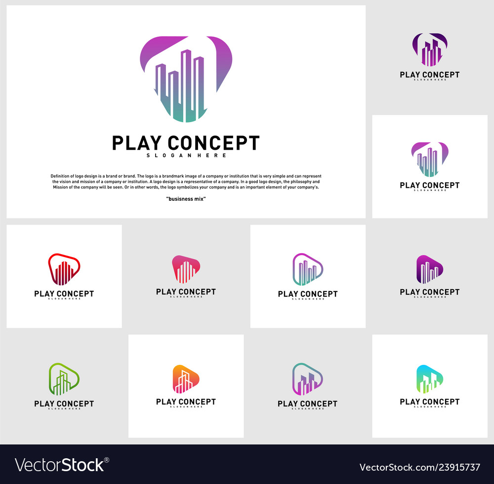 Set of play media city logo design concept stats