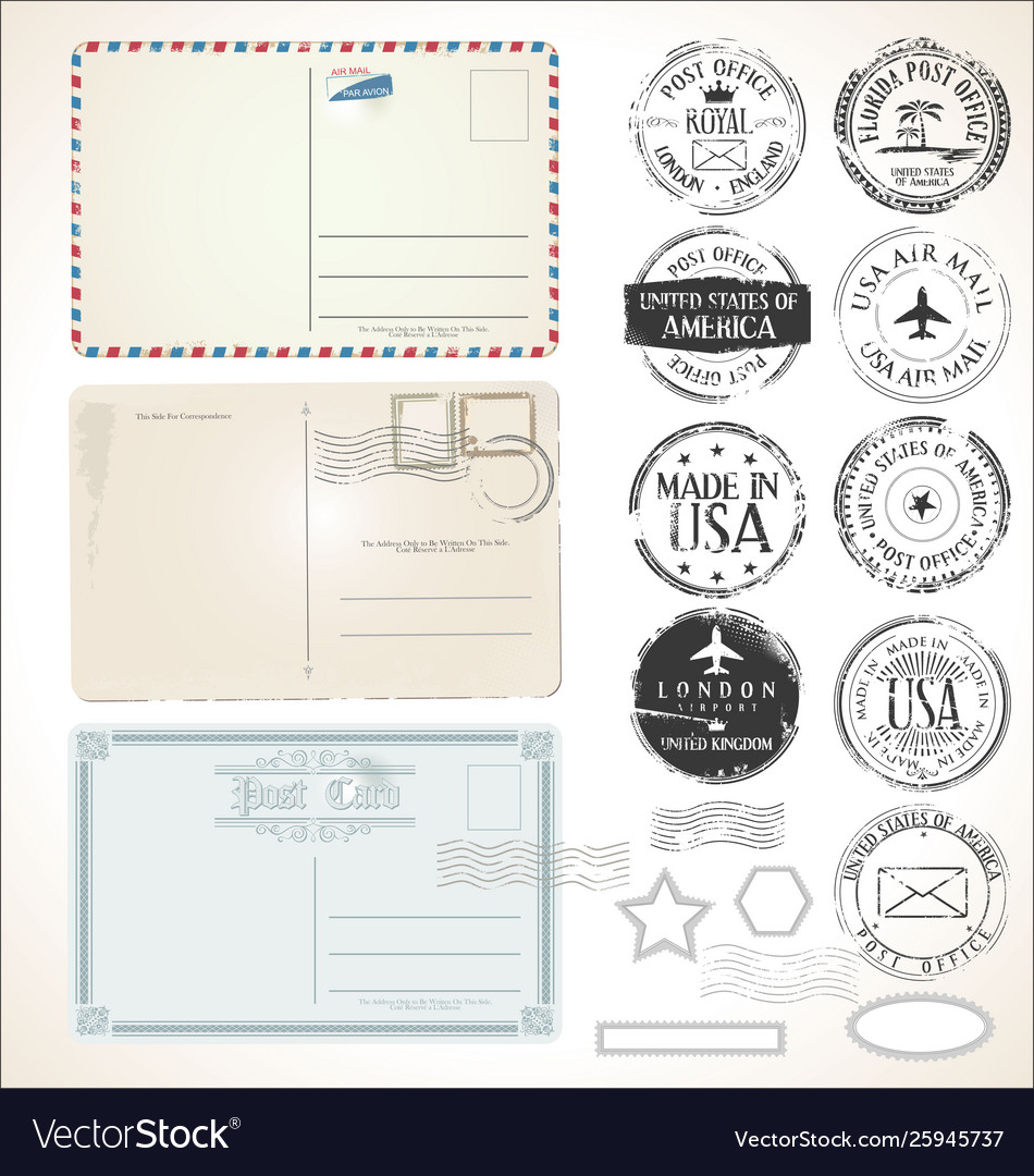 Set postal stamps and post cards on white