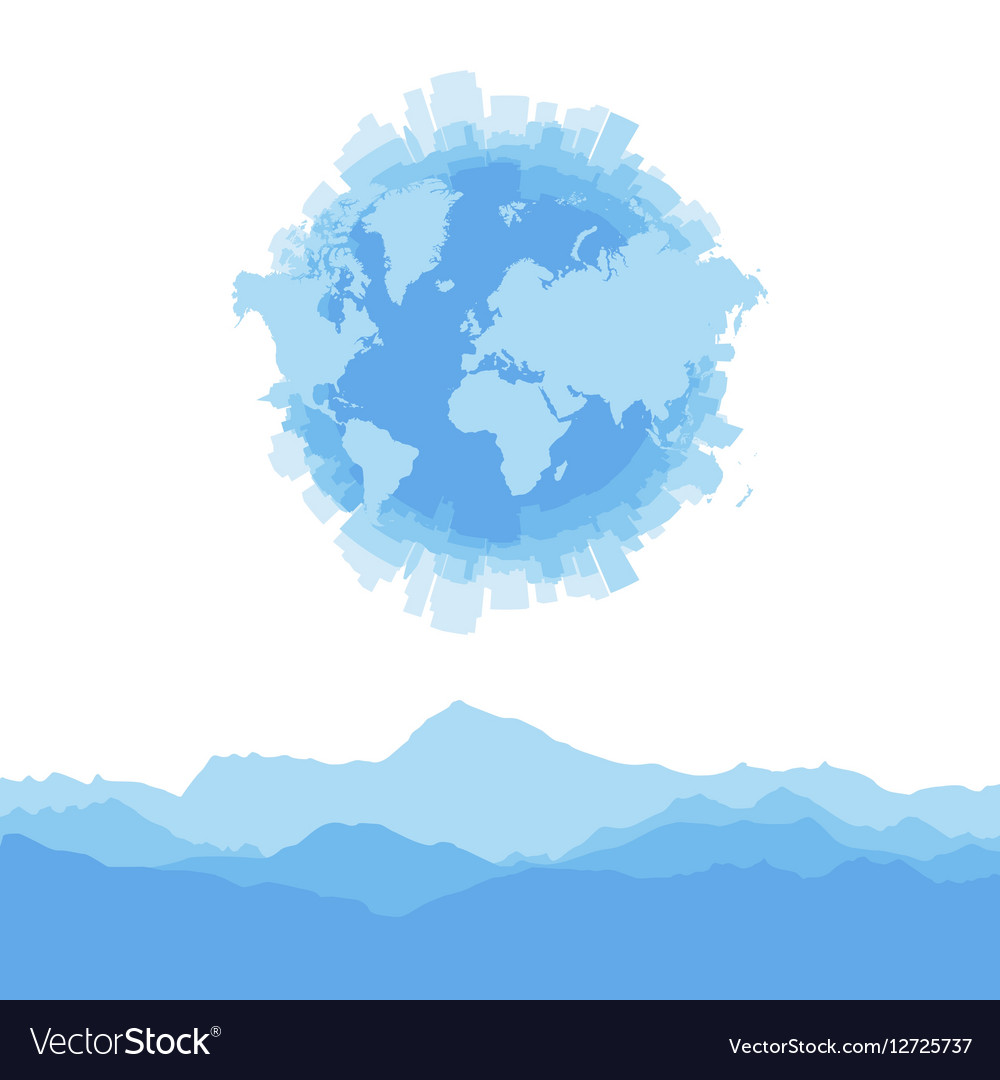 Silhouette city world map and mountains on white