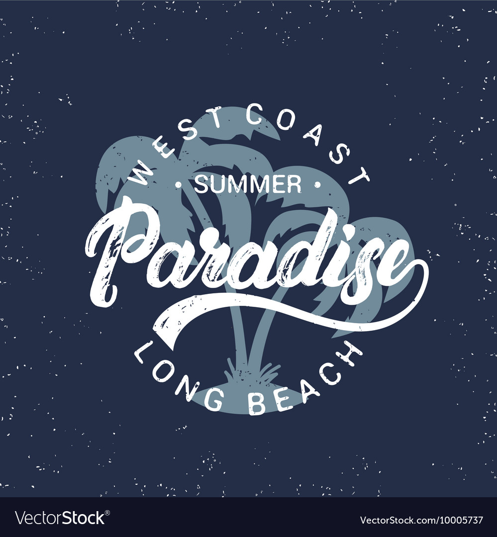 Summer paradise hand written lettering with palms