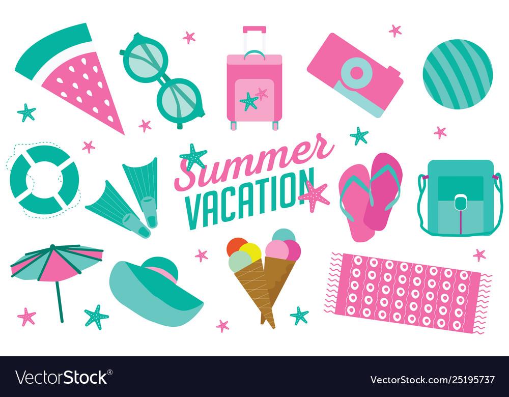 Summer vacation icon set in flat cartoon style