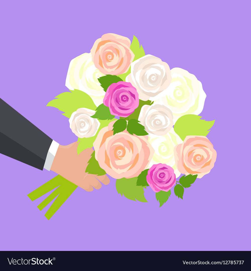 Wedding Bouquet Of Pink White And Green Roses Vector Image