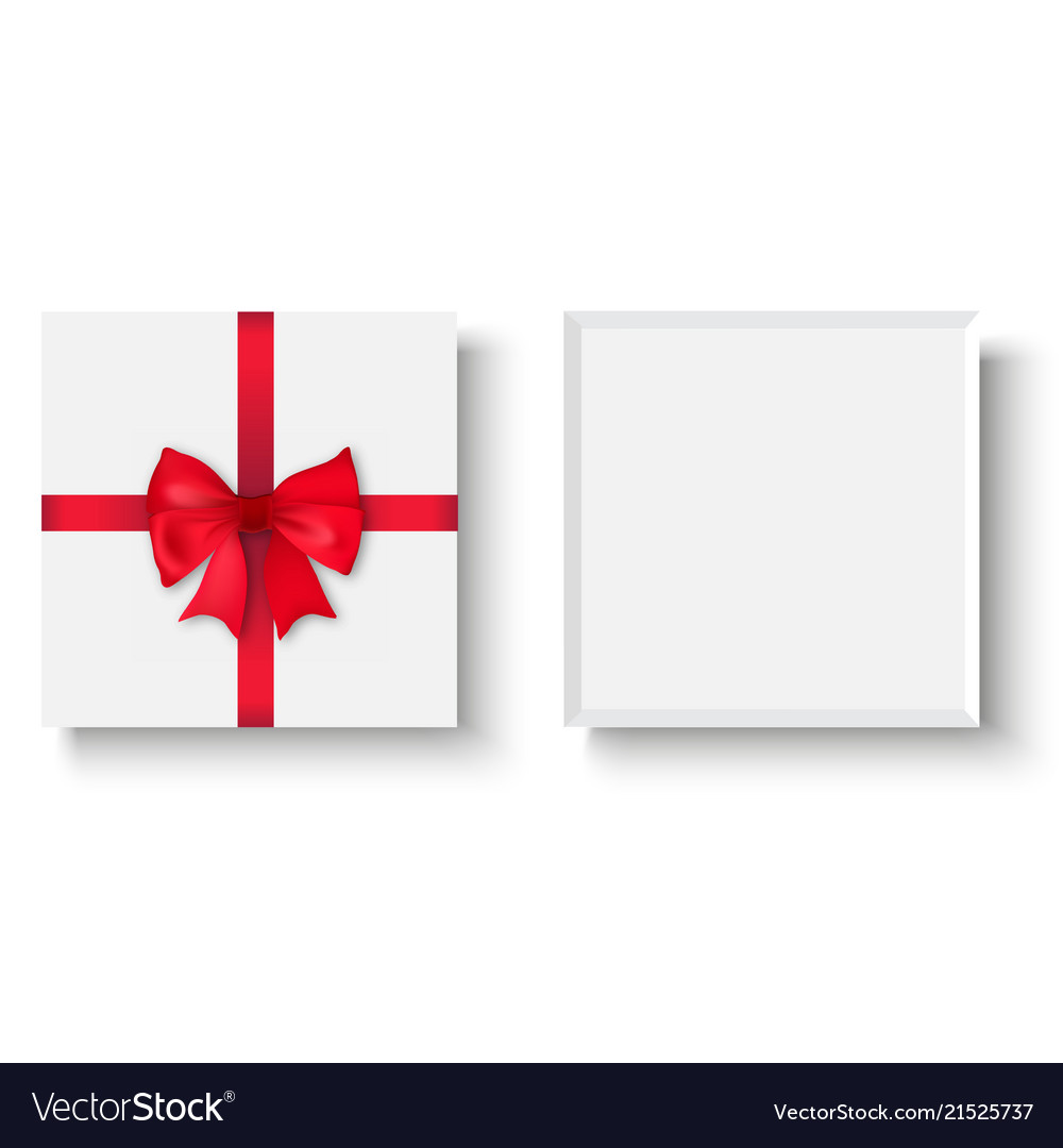 White gift box with red bow top view